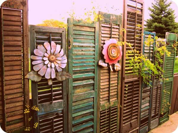 Old shutters fence design diy fence ideas