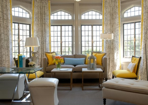 Beautiful living room with yellow accents