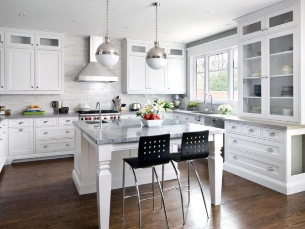 Beautiful white and metal kitchen