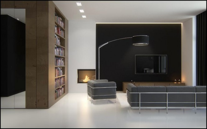 Black brown white living room