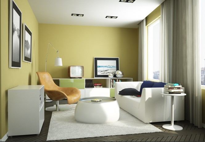 Yellow Green Living-Room