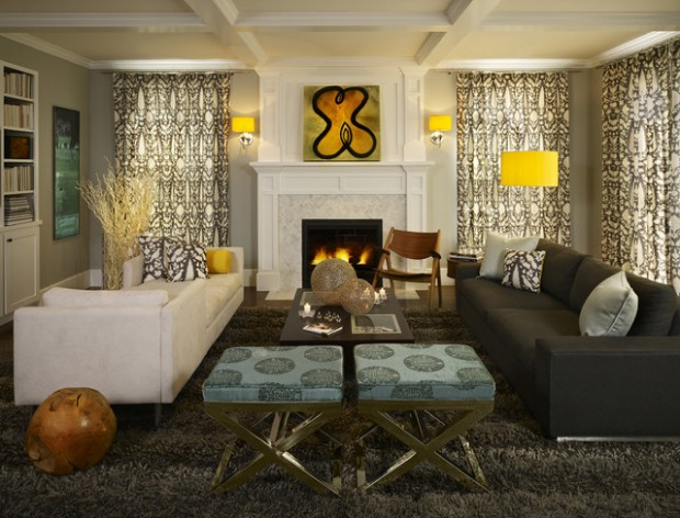 amazing yellow accent living room