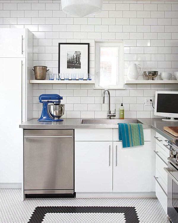 white subway tile in modern kitchen