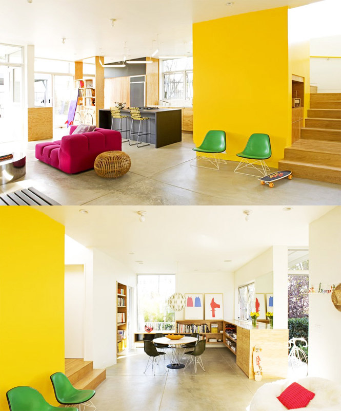 yellow decor open plan
