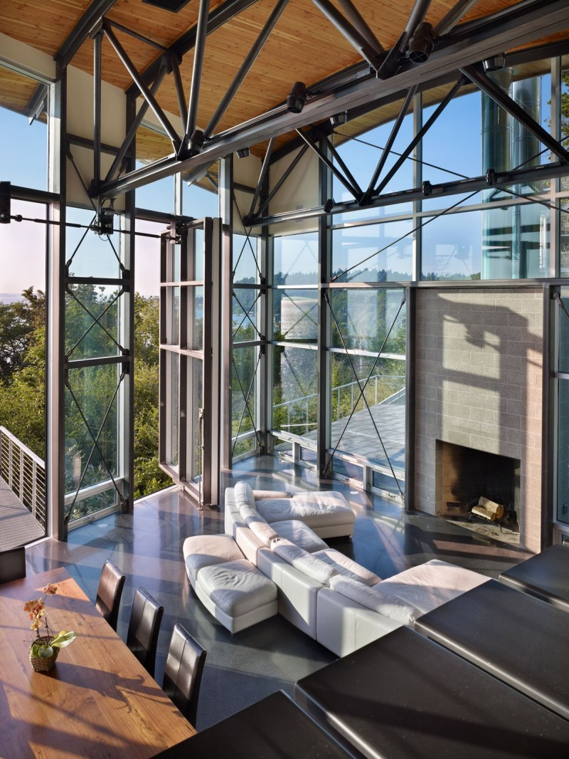 Living Room with view, West Seattle Residence by Lawrence Architecture