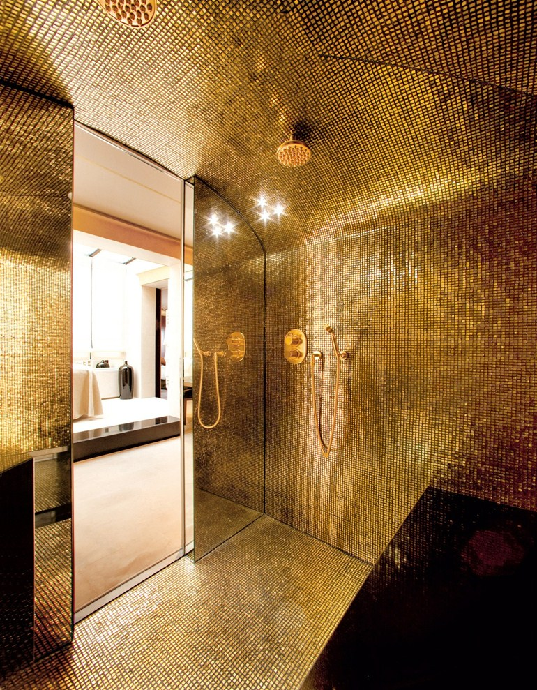Charmant Bathroom, Gold Leaf Mosaic