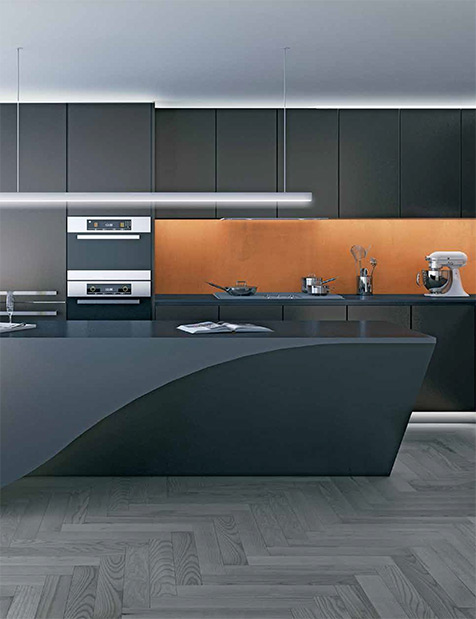 Beautiful BIGs architects designed dream black kitchens at the downtown Vancouver House high-rise luxury residences.