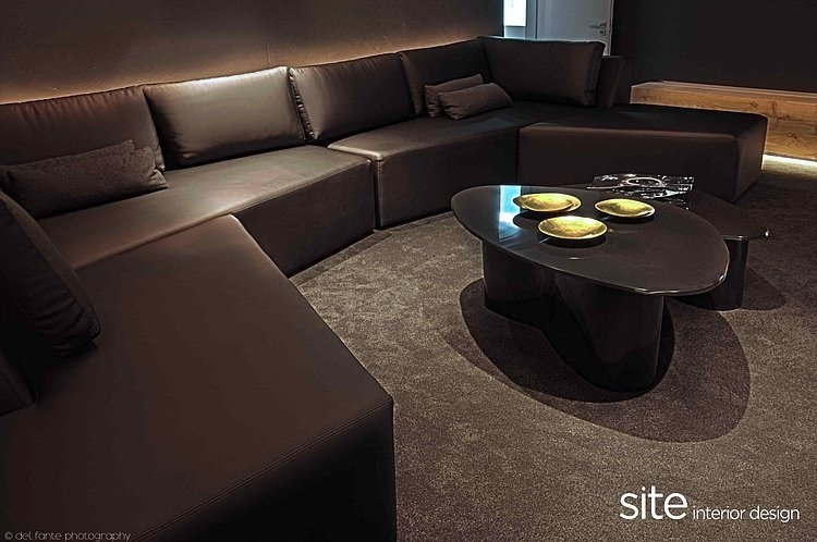 Black Sofa, Aupiais house by site interior design