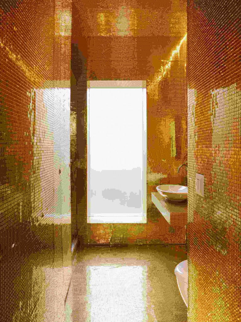 Gold color shower, bathroom decor
