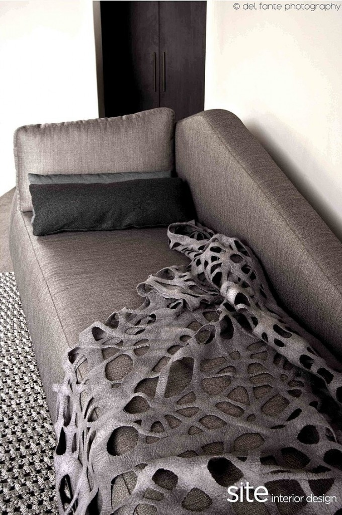 Gray sofa, Aupiais house by site interior design