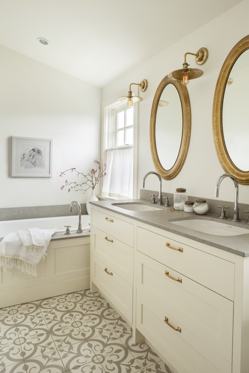 Matte gold is beautiful, transitional bathroom