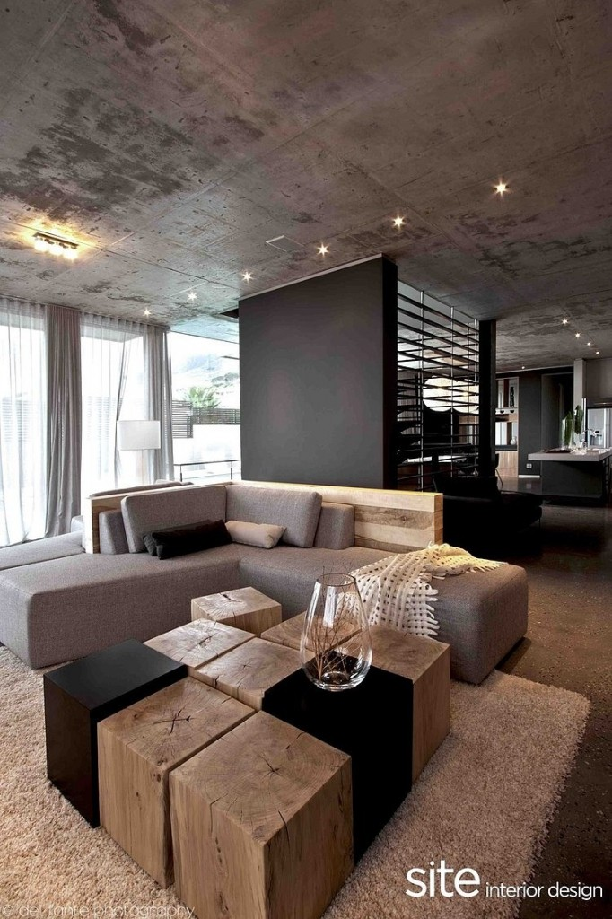 Neutral Color Living Room, Aupiais house by site interior design