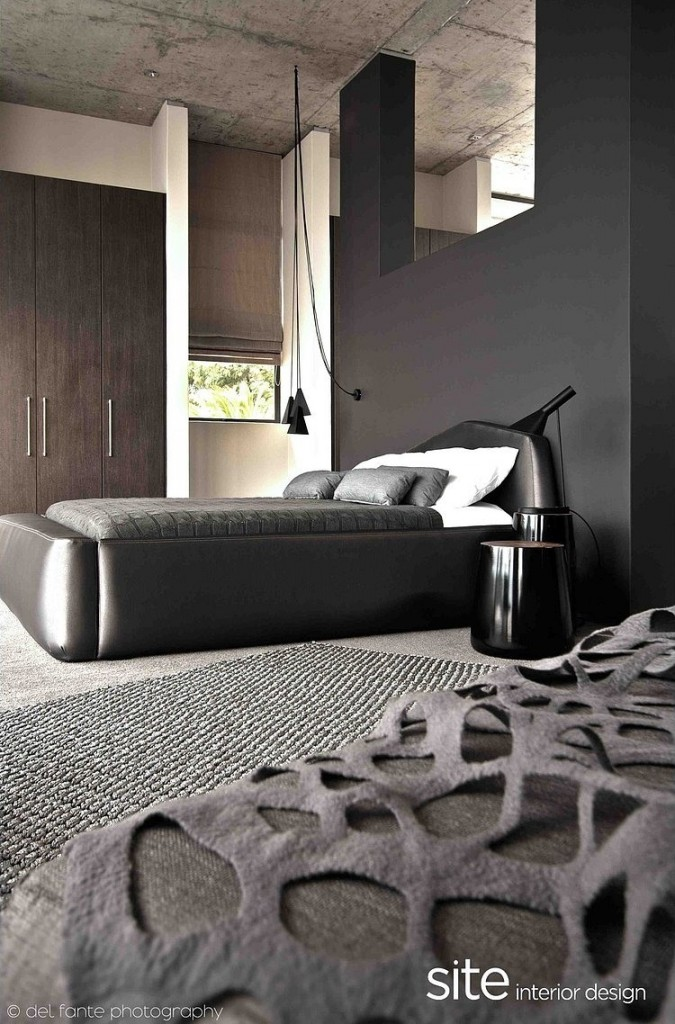 Stylish Gray Bedroom Design, Aupiais house by site interior design