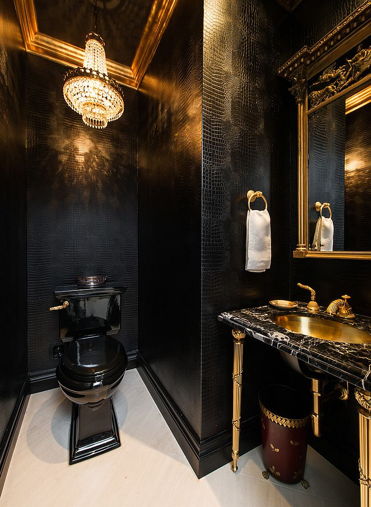 Traditional bathroom in gold and black