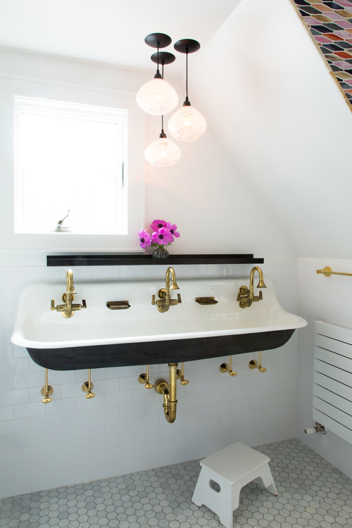 Vintage Inspired Small Bathroom with Gold Details