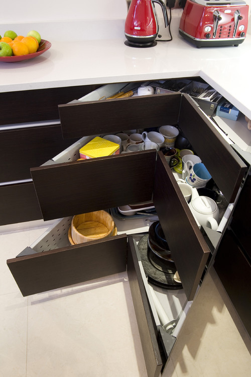 18. Get the most from your kitchen storage with these specially designed v-shaped cabinets