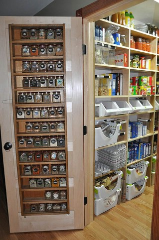 An amazing pantry with clever door storage