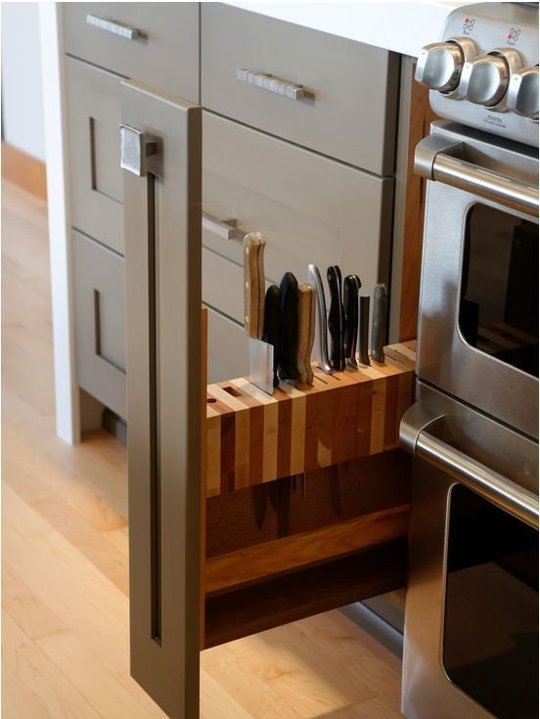 Clever Way to Store Knives, DIY Kitchen Storage
