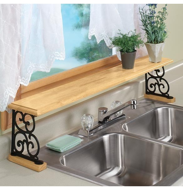 If you need more space around your kitchen sink, You can create extra storage space by buying an over-the-sink shelf.
