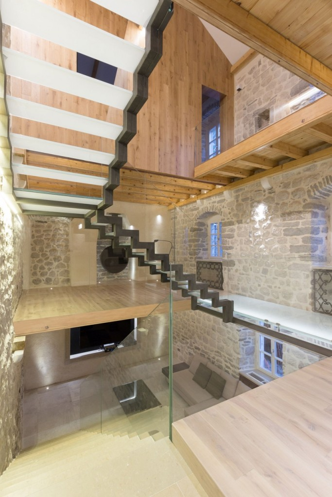 Stairs, Glass, Reconstruction of a Villa in Ljuta by Enforma Studio
