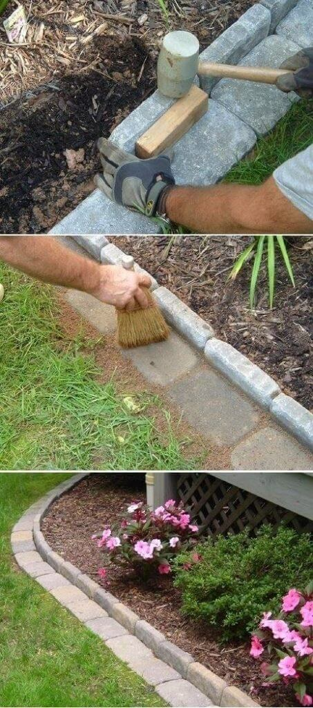 Use stone bricks to edge your garden