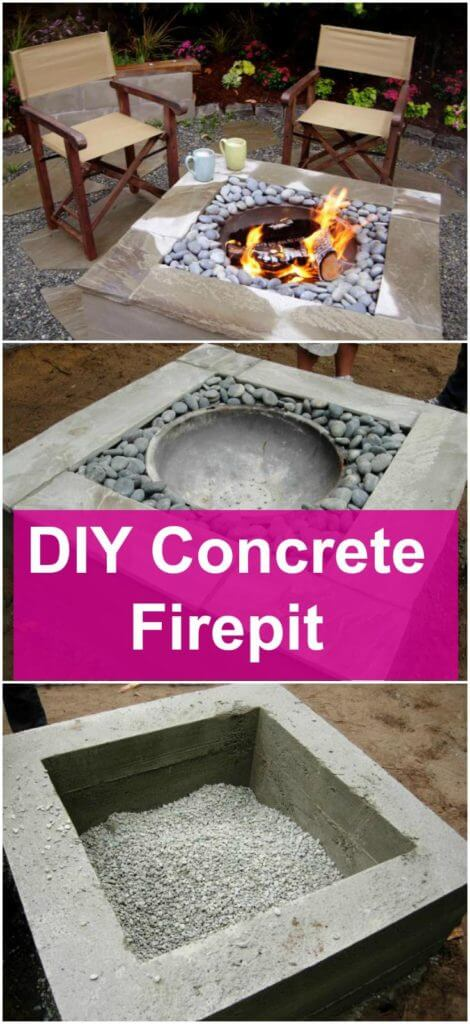 Amazing DIY Concrete Firepit, DIY Fire Pit Ideas