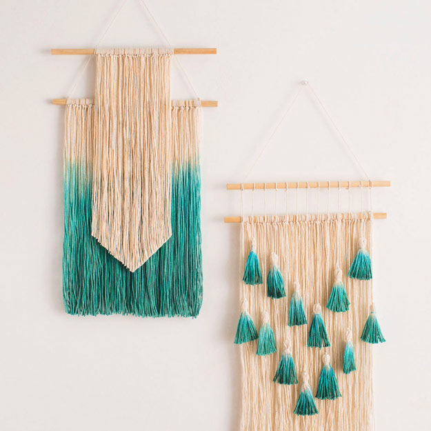40 amazing crafts to make and sell beautiful dip dyed string wall hanging art solutioingenieria