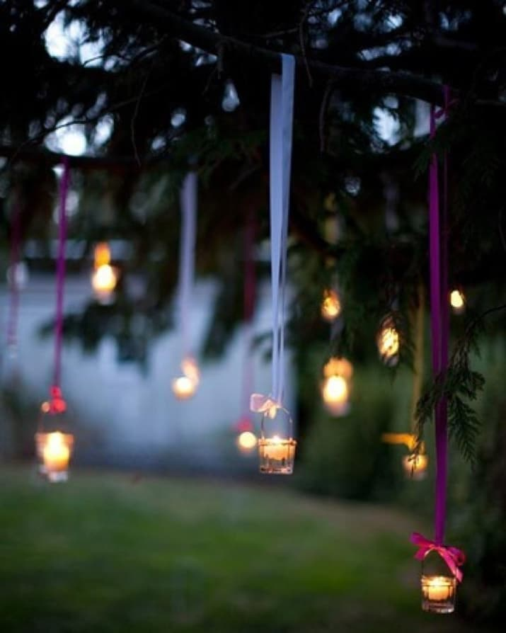 Diy garden lighting ideas hanging tea lights diy garden lighting ideas e