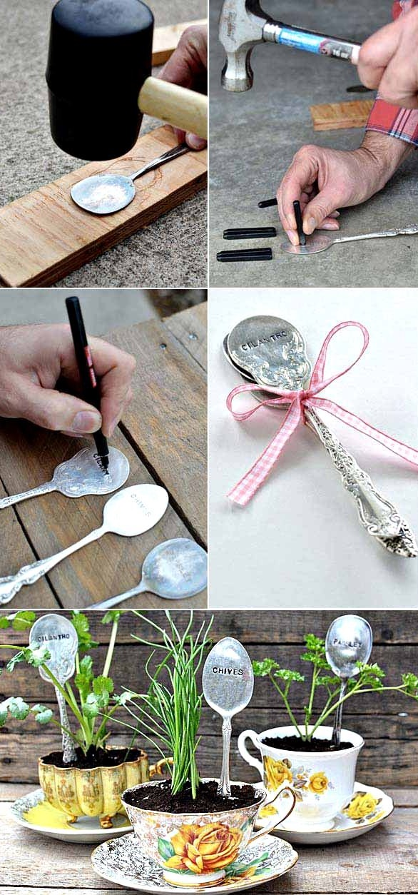 DIY Stamped Spoon Plant Markers, DIY Plant Label and Marker Ideas