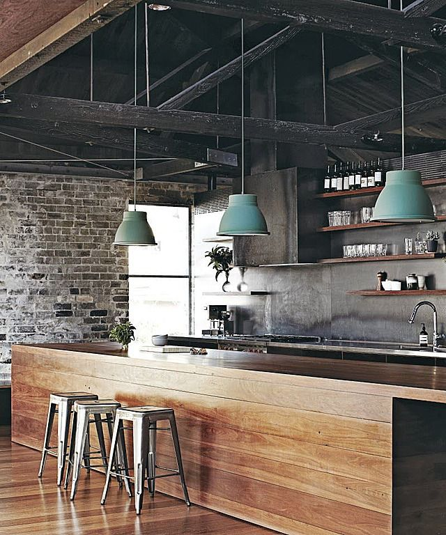 Kitchen With Wood Island