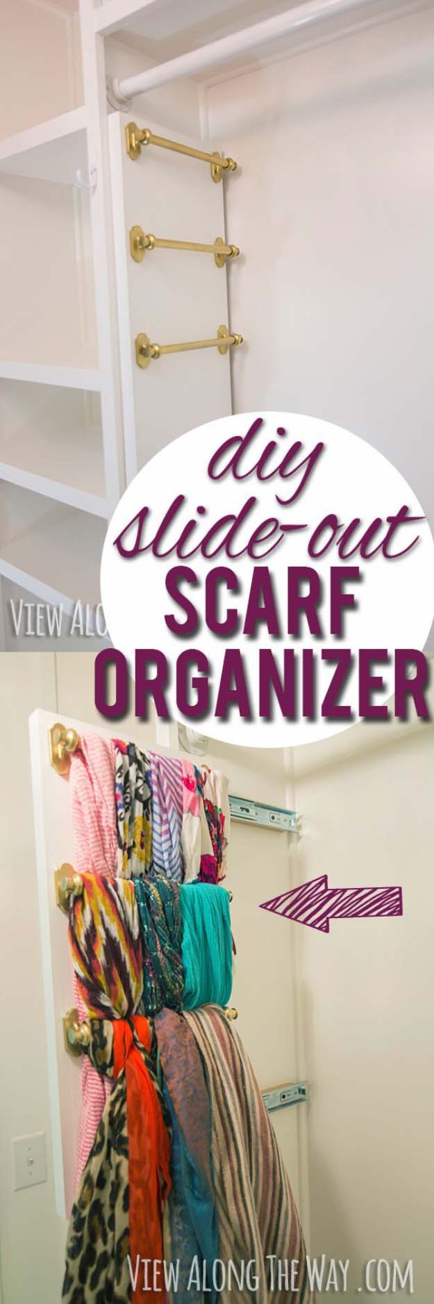 Closet Organization, DIY Slide-out Scarf and Belt Organizers
