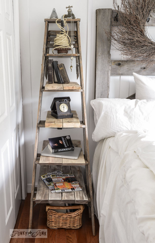 DIY Farmhouse Stepladder Side Table