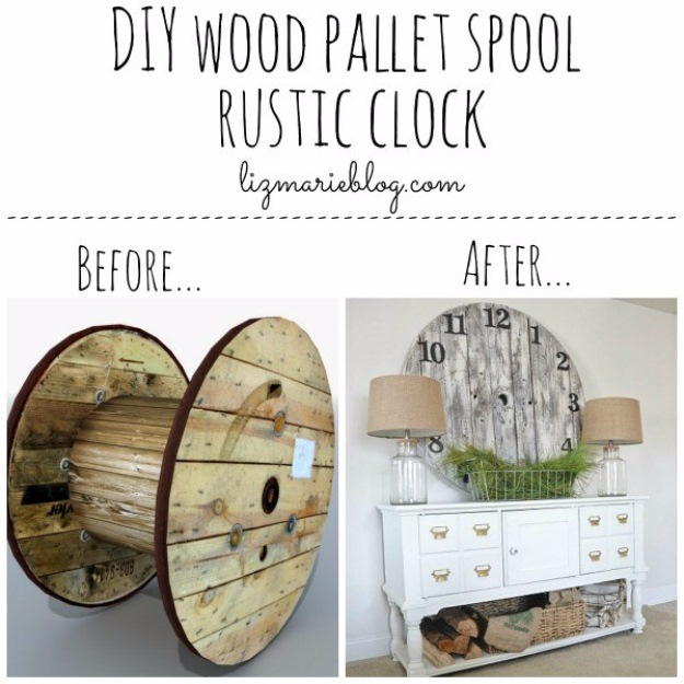 DIY Wood Pallet Spool Rustic Clock