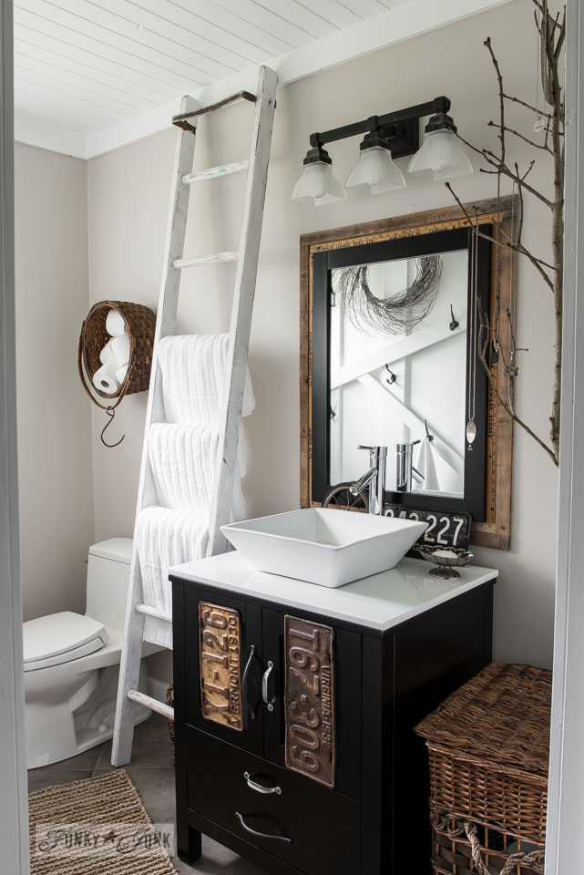 Farmhouse Bathroom and Plank Ceiling