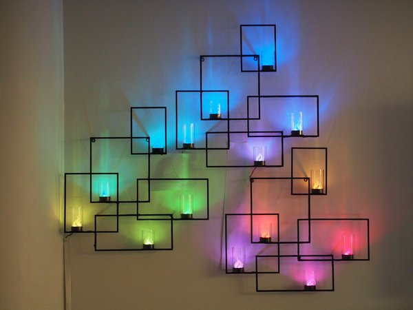 30+ Best DIY Wall Art Projects For Your Home, DIY Geometric Neon Lights Wall Art Sconces