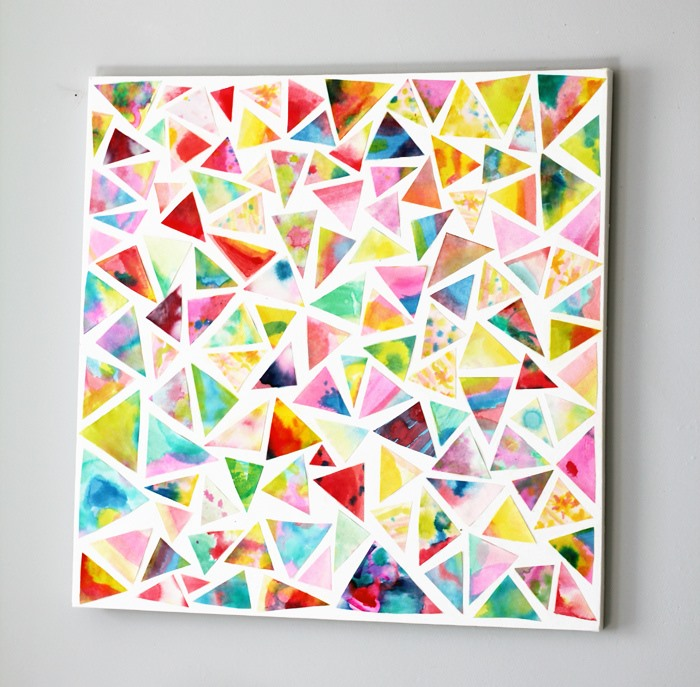30+ Best DIY Wall Art Projects For Your Home, DIY Geometric Watercolor Wall Art