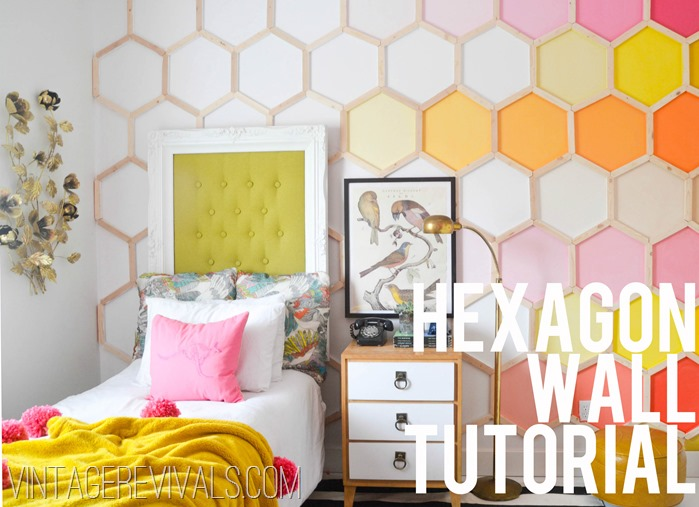 30+ Best DIY Wall Art Projects For Your Home, DIY Honeycomb Hexagon Wall Treatment