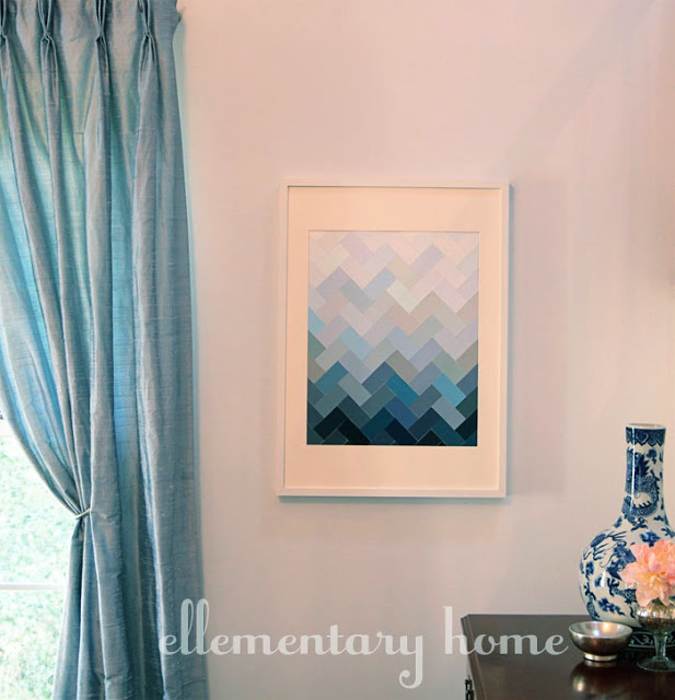 30+ Best DIY Wall Art Projects For Your Home, DIY Paint Chip Ombre Herringbone Wall Art