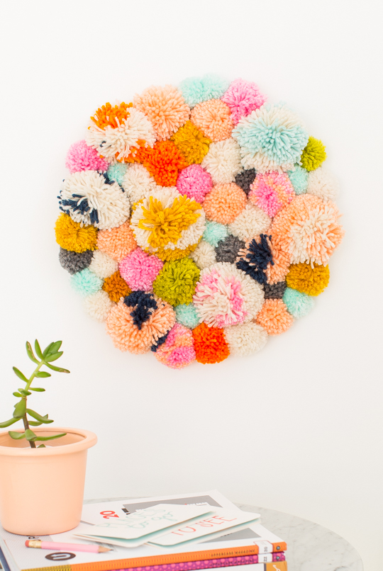 30+ Best DIY Wall Art Projects For Your Home, DIY Pom Pom Wall Hanging