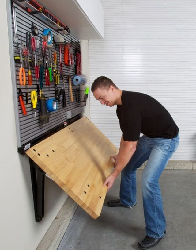 30+ BEST Garage Organization and Storage Ideas, Folding Workbench