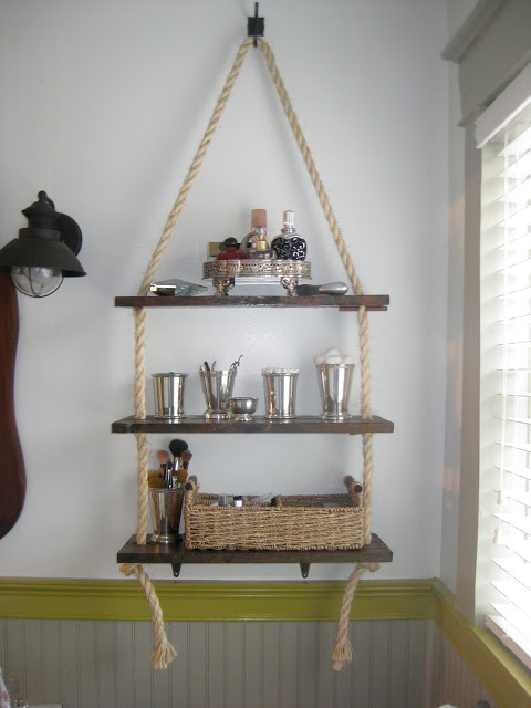 DIY Farmhouse Bathroom Shelving