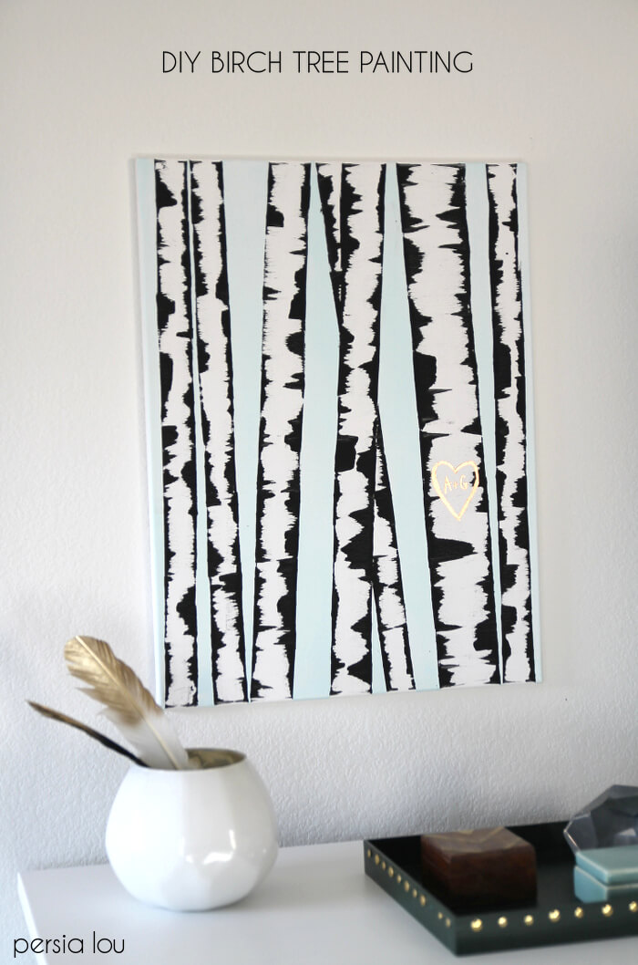 30+ Best DIY Wall Art Projects For Your Home, DIY Birch Tree Wall Art