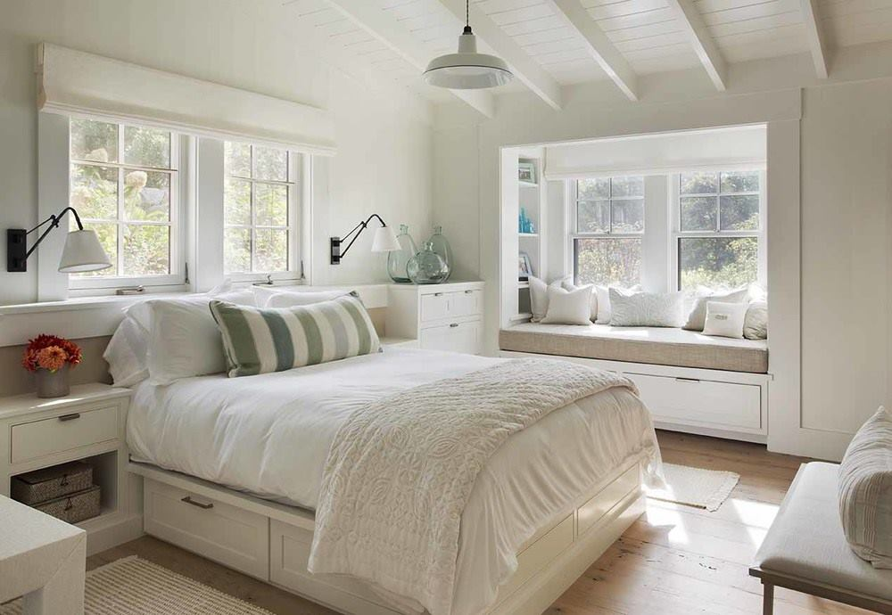 Guest Bedroom with Reading Nook, Beach Barn House in Massachusetts