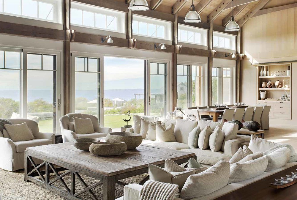 Living Room with View, Beach Barn House in Massachusetts