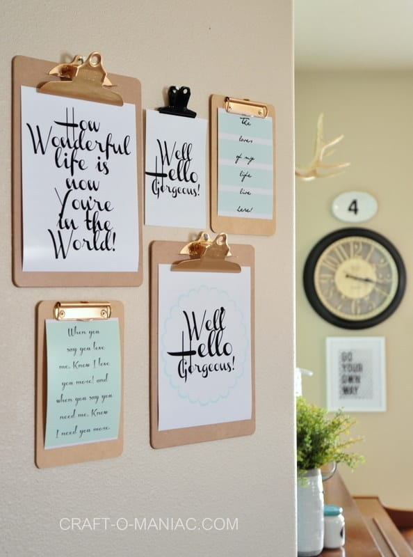 Inspirational Quotes on Clipboards Wall Hanging, Classy DIY Wall Decor Ideas For Your Home - Wall Arts